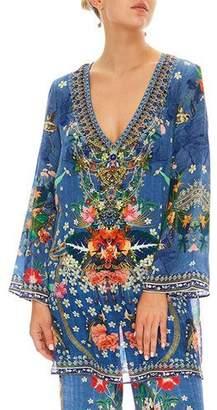 Camilla Faraway Florals Silk Printed Long-Sleeve Tunic