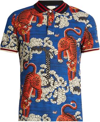GUCCI Bengal-print cotton-blend piqué polo shirt $790 thestylecure.com