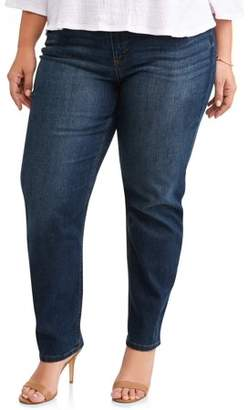 Terra & Sky Women's Plus 5 Pocket Classic Straight Leg Stretch Jean, Available in Regular and Short Lengths
