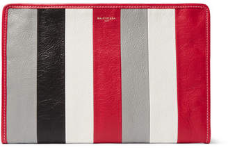 Balenciaga Bazar Striped Textured-Leather Pouch