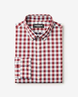 Express Classic Small Plaid Wrinkle-Resistant Performance Dress Shirt