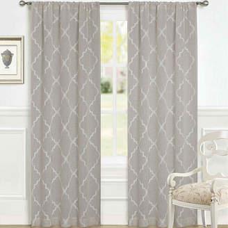 Laura Ashley Windsor Rod-Pocket 2-Pack Sheer Curtain Panels
