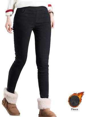 mtzyoa Women Skinny Pants Winter High Waist Jeggings Warm Slim Pencil Pants