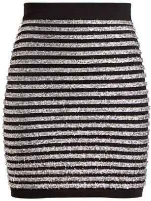 Balmain Striped mid-rise mini skirt