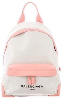Balenciaga Leather-Trimmed Canvas Backpack