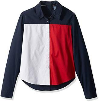 Tommy Hilfiger Adaptive Women's Seated Fit Flag Shirt with Adjustable Closure