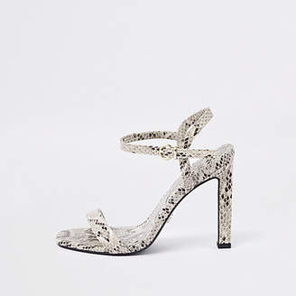 River Island White snake print barely there sandals