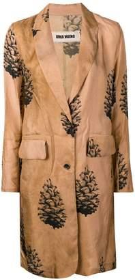 Uma Wang tree print single breasted coat