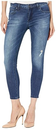 KUT from the Kloth Petite Donna Ankle Jeans with Raw Edge Hem in Daydream Wash