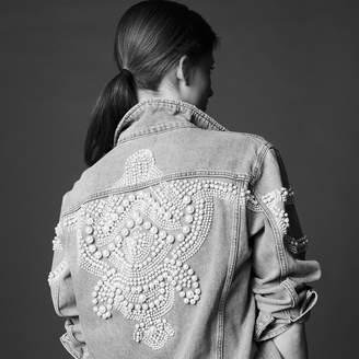 Sandro Oversized denim jacket with bead details