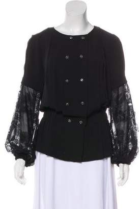 Chanel Silk Lace-Paneled Top