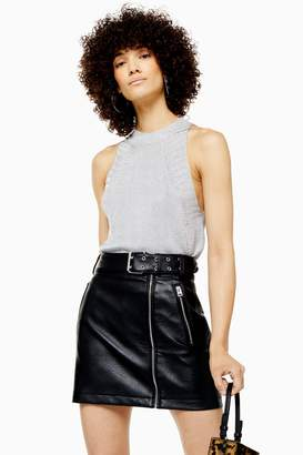 Topshop Womens Knitted Metallic Tank Top - Silver