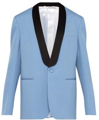 Calvin Klein Silk Satin Lapel Wool Tuxedo Jacket - Mens - Black Blue