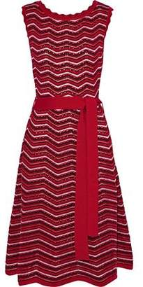 Carolina Herrera Striped Crochet-Knit Wool-Blend Dress