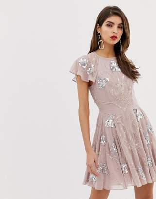 Asos Design DESIGN mini skater dress with frill cap sleeve with all over embellishment