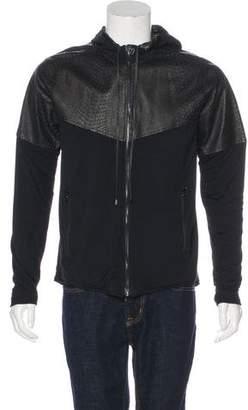 En Noir Embossed-Paneled Hooded Jacket