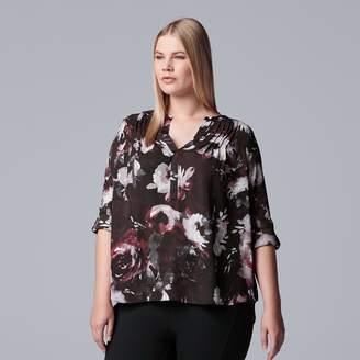Vera Wang Plus Size Simply Vera Pintuck Top