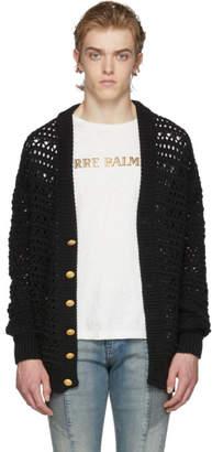Pierre Balmain Black Cable Knit Cardigan