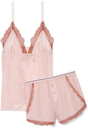 Love Stories - Lotty And Matt Lace-trimmed Cotton And Silk-blend Pajama Set - Antique rose