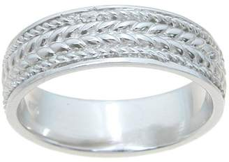 Plutus Brands Sterling Silver High-Polish 6mm Unique Textured Men's Wedding Band