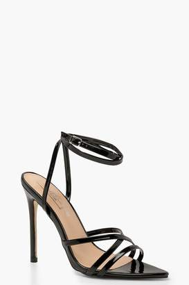 boohoo Cross Strap Pointed Toe Stiletto Heels