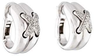 Chaumet 18K Diamond X Hoop Earrings