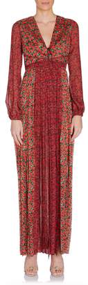 Raquel Diniz Lili Long Sleeve Deep V Floral Maxi Dress in Red