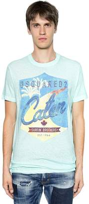 DSQUARED2 Caten Printed Cotton Jersey T-shirt
