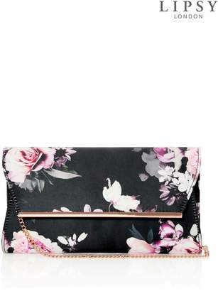 At Next Lipsy Amber Print Gold Bar Detail Clutch Bag One Size
