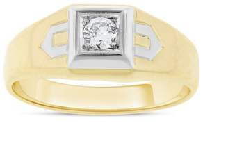 14k Yellow Gold Euro Cut 0.15 Ct. Diamond Mens Ring Size 10