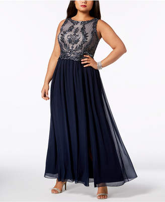 Adrianna Papell Plus Size Sleeveless Embellished Gown