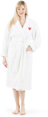 "Linum Home Textiles Home Embroidered Pink ""I Love You"" HeartTerry Bathrobe"