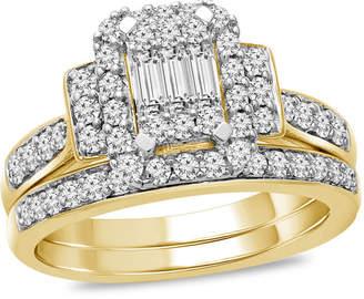 Zales 3/4 CT. T.W. Composite Diamond Rectangle Frame Collar Bridal Set in 10K Gold