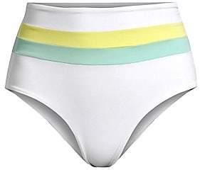 L-Space LSpace Women's Colorblock Portia Striped High-Rise Bikini Bottoms