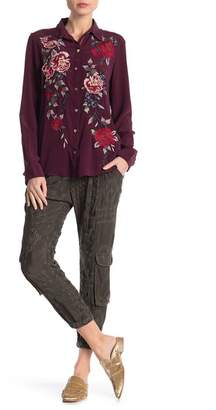 Johnny Was Embroidered Eyelet Cargo Pants