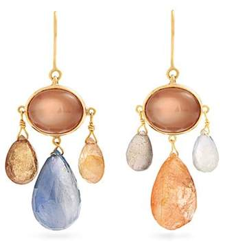 Brigid Blanco - Sapphire, Moonstone, Tourmaline & Gold Earrings - Womens - Blue