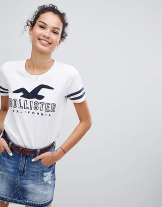 Hollister logo t-shirt with sleeve stripe