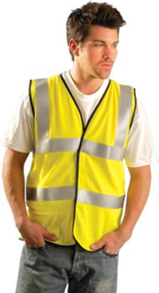 OccuNomix 3X Hi-Viz Yellow OccuLux Flame Resistant Modacrylic Mesh Class 2 Deluxe Vest With FR Front Hook And Loop Closure, 2 3M Scotchlite Reflective Tape Striping, FR Binding Thread And 1 Pocket