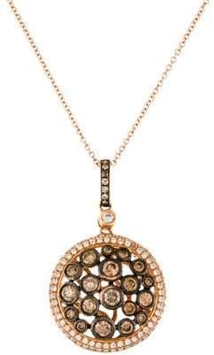18K Diamond Round Pendant Necklace