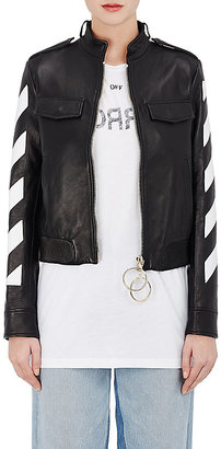Off-White c/o Virgil Abloh Women's Stripes-And-Roses Embellished Leather Moto Jacket $2,395 thestylecure.com