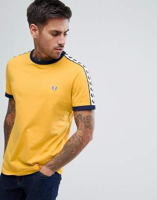 Fred Perry Sports Authentic Taped T-Shirt In Yellow
