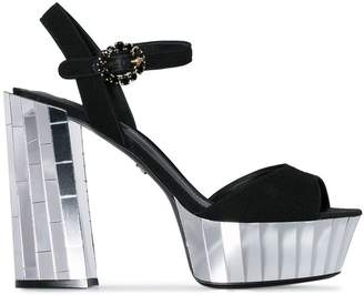 Dolce & Gabbana black Belluci 120 mirror platform suede sandals