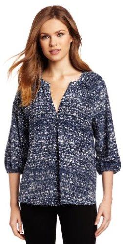 Joie Women's Addie B Tweed Printed Savory Silk Blouse