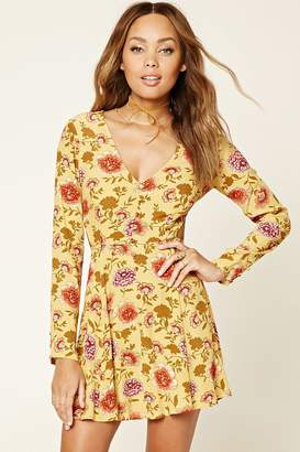 Forever 21 Floral Print Cutout Dress