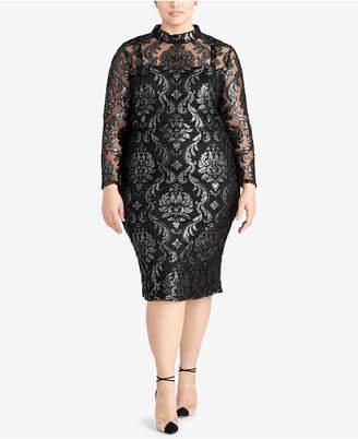 Rachel Roy Trendy Plus Size Metallic Jacquard Dress