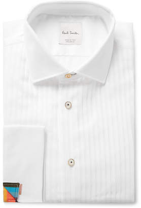 Paul Smith White Bib-Front Double-Cuff Cotton-Piqué Shirt