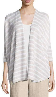 Eileen Fisher Striped Oversized Cardigan, Natural