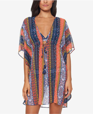 Jessica Simpson Sheer Printed-Stripe Cover-Up Women Swimsuit