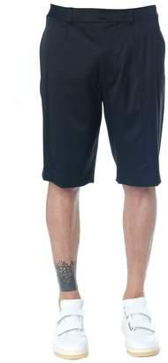 Helmut Lang Black Color Wool Logo Waistband Shorts