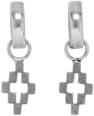 Marcelo Burlon County of Milan Silver Cross Pendant Hoop Earrings